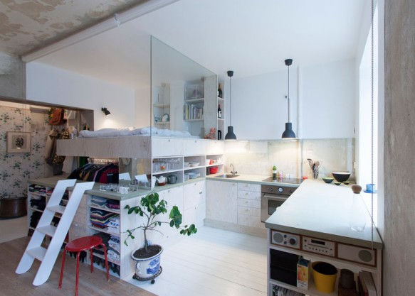 Micro-apartment with Loft Bed and Carousel Closet - LifeEdited