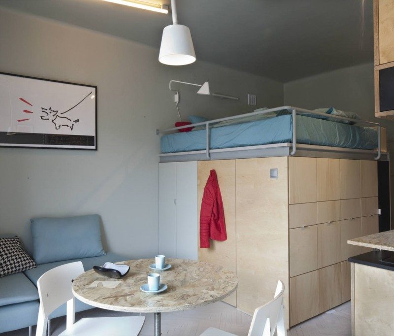 Function and form sharing 237 sq ft lifeedited for Tiny apartment solutions