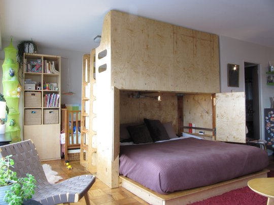 The Centerpiece Of The Apartment Is A Bed Module That Houses A Single Loft  Bed For The Coupleu0027s Then Four Year Old (the Apartment Was Featured In  Apartment ...