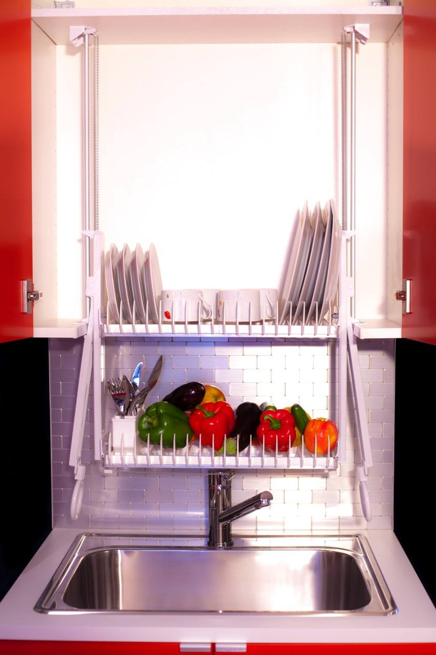 Industrial Drying Rack Cabinet ~ This contraption saves counter space dish towels time